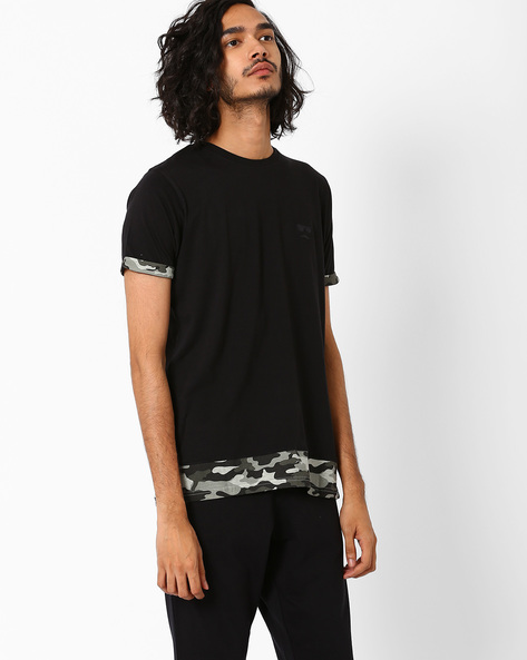 Panelled T-shirt With Camouflage Print Hems By Garcon ( Red )
