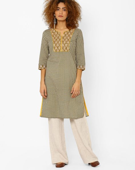Printed Kurta With Contrast Yoke By AJIO ( Olive )