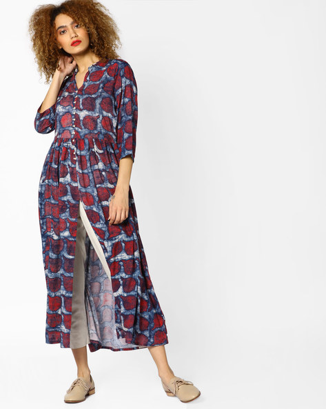 Printed Front-Open Kurta By Shree ( Red )