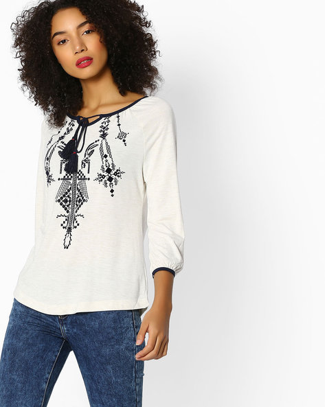 Flock Print Top With Keyhole Neckline By FIG ( Offwhite )