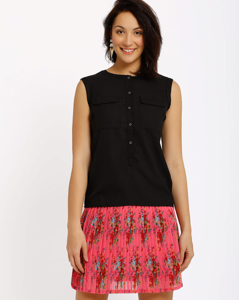 Sleeveless Top By Annabelle By Pantaloons ( Black )