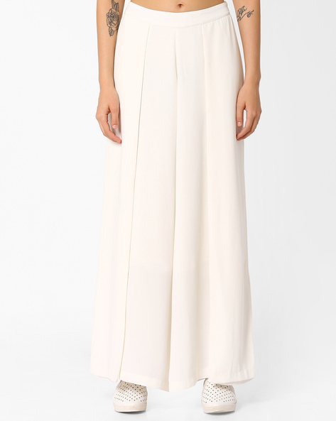 Pleated Palazzo Pants By AJIO ( Offwhite )
