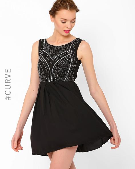 Sequinned Skater Dress By AJIO ( Black )