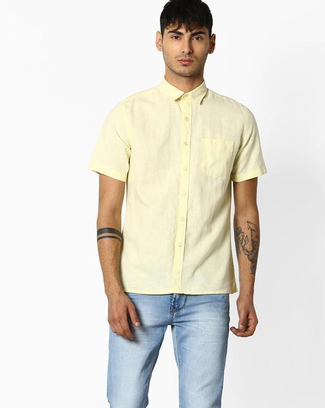 Short-Sleeve Linen Shirt By NETPLAY ( Ltyellow )