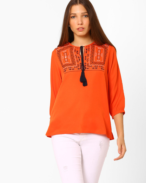 Embroidered Top With Tie-up By Rena Love ( Orange )