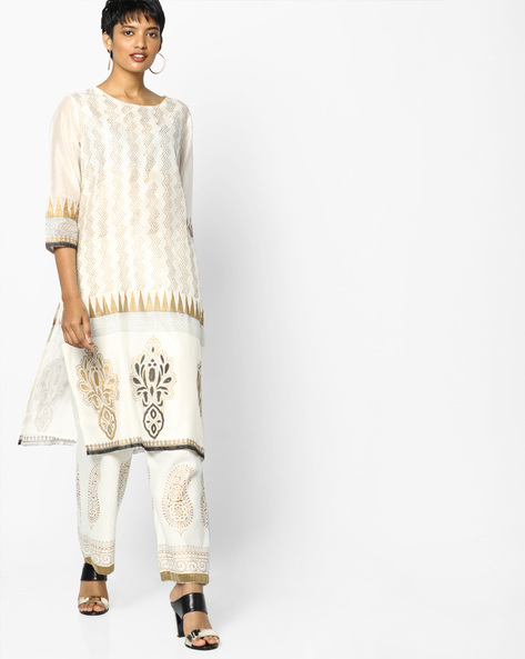 All-Over Print Straight Kurta By Project Eve IW Evening ( Offwhite )