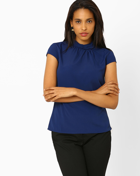 High-Neck Top By Annabelle By Pantaloons ( Navyblue )