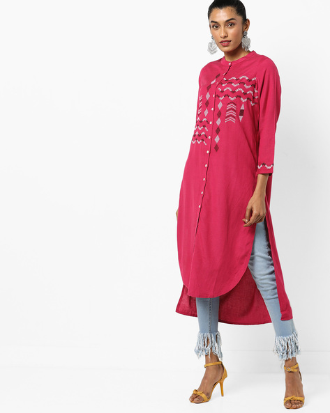 High-Low Kurta With Embroidery By Global Desi ( Pink )