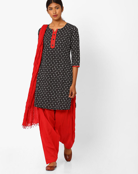 Printed Kurta With Patiala Pants And Dupatta By Jaipur Kurti ( Black )