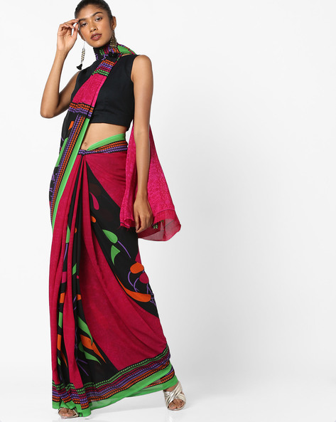 Printed Bhagalpuri Silk Saree By Florence ( Black )