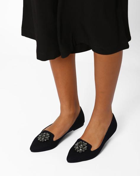 Embellished Flat Shoes By AJIO ( Blue )
