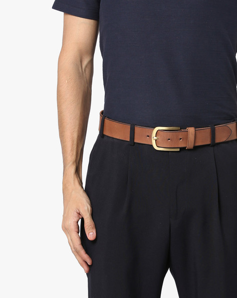 Genuine Leather Belt With Nickle Buckle Closure By AJIO ( Tan ) - 460084916003