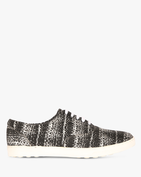 Printed Canvas Sneakers By ESCARO ( Black )