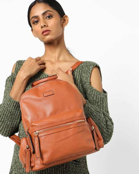 Textured Backpack With Adjustable Straps By 20Dresses ( Brown )