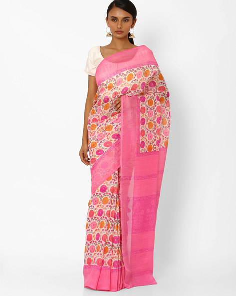 Printed Saree With Contrast Border By Akoya ( Pink ) - 460044057001