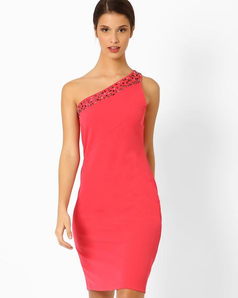 One-Shoulder Sheath Dress By AJIO ( Coral )