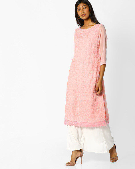Embroidered Straight Kurta With Sheer Sleeves By Melange By Lifestyle ( Pink )