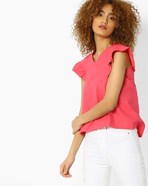V-neck Top With Ruffled Cap Sleeves By Blue Saint ( Pink )