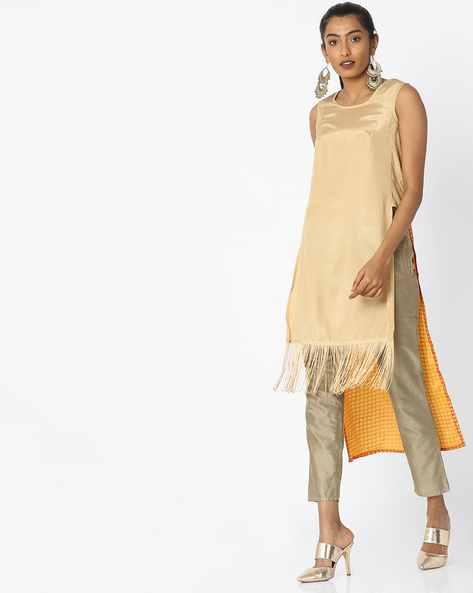 High-Low Kurta With Printed Back By Akkriti By Pantaloons ( Yellow )