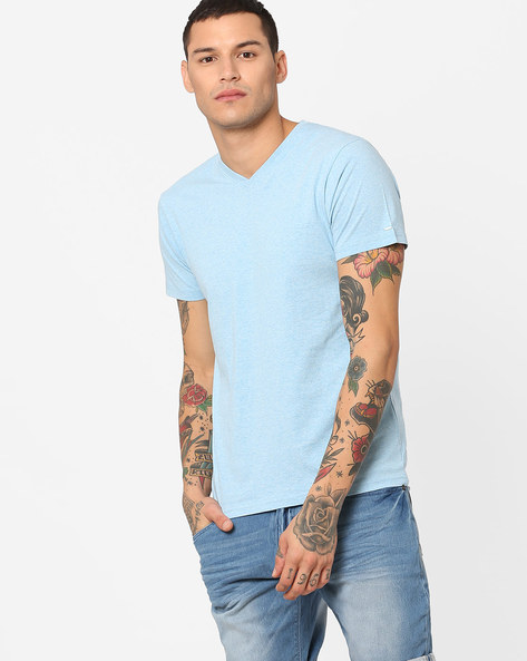 Slim Fit Cotton T-Shirt By Pepe Jeans ( Blue )