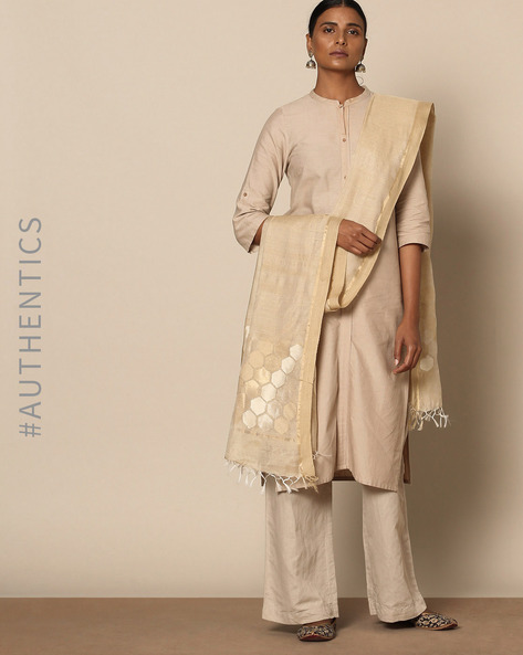 Handloom Pure Silk Spun Muga Jamdani Dupatta By Indie Picks ( Beige )
