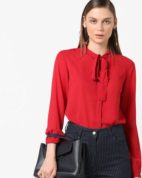 Top With Neck Tie-Up By Project Eve WW Work ( Red )