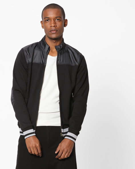 Zip-Front Cut & Sew Sweatshirt By FLYING MACHINE ( Clearblack )