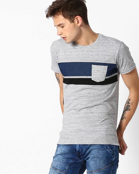 Crew-Neck T-shirt With Patch Pocket By MUFTI ( Greymelange )