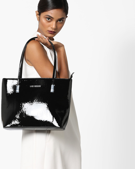 Polished Shoulder Bag By Lino Perros ( Black )
