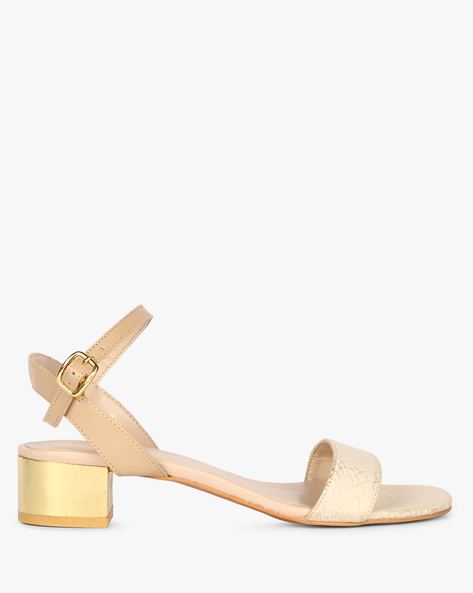 Ankle-Strap Block Heels With Buckle Closure By Carlton London ( Taupe )
