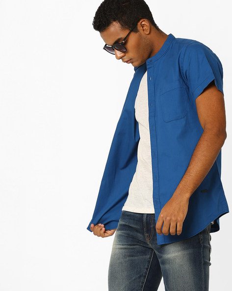 Casual Shirt With Mandarin Collar By ADAMO LONDON ( Blue )