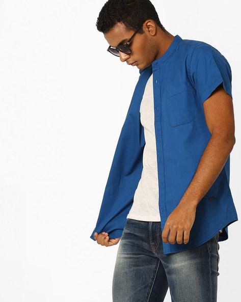 Casual Shirt With Mandarin Collar By ADAMO LONDON ( Blue )