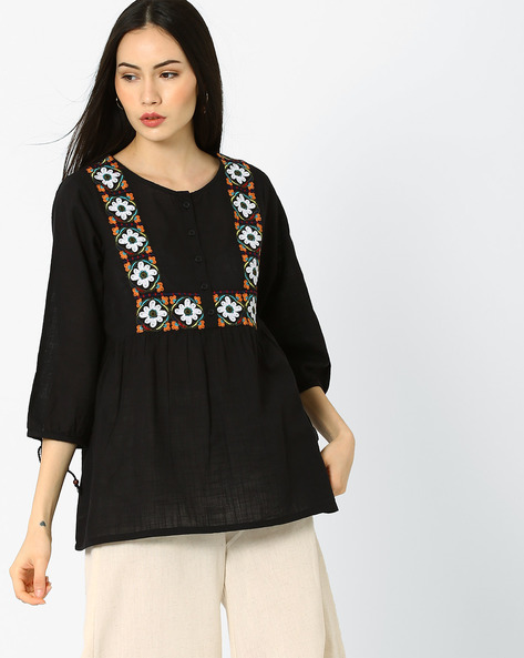 Embroidered Tunic With Tassels By Global Desi ( Black )