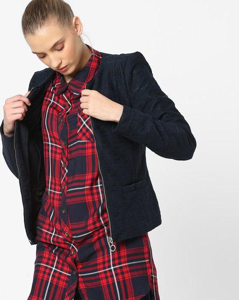 Front Zip Textured Jacket By Vero Moda ( Black )