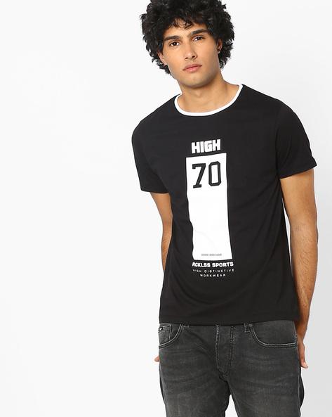 Typographic Print Slim Fit T-shirt By AJIO ( Black )