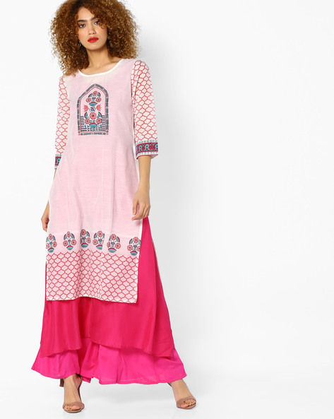 Printed Layered Kurta By Rangmanch By Pantaloons ( Offwhite )