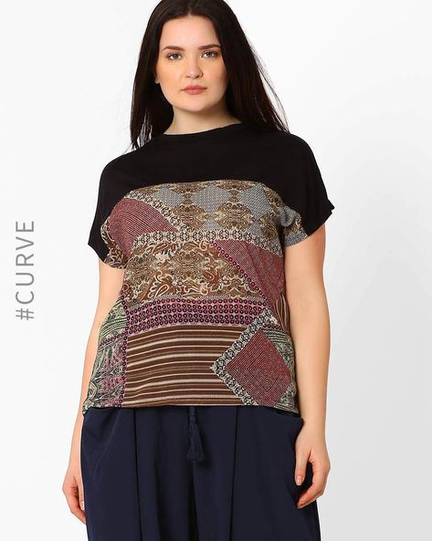 Printed Crew-Neck Top By Oxolloxo ( Brown )