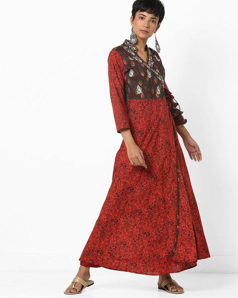 Floral Print Angrakha Kurta With Tie-Up By Jaipur Kurti ( Maroon )