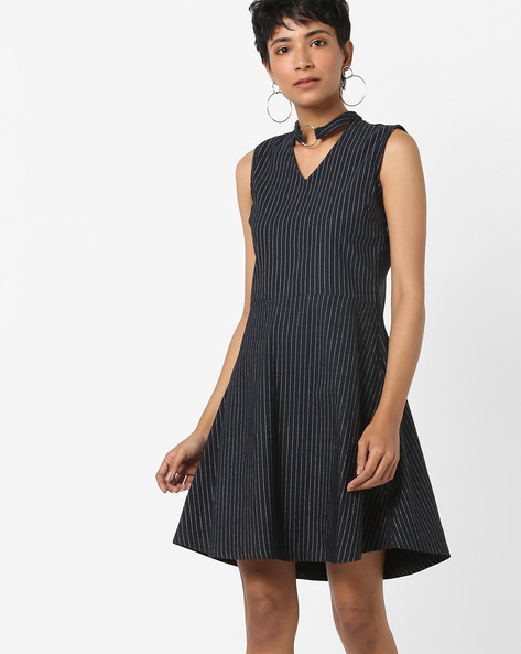 Skater Dress With Choker Neckline By AJIO ( Navy )