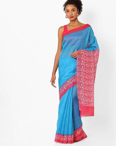 Bhagalpuri Striped Saree By Ishaya ( Blue )