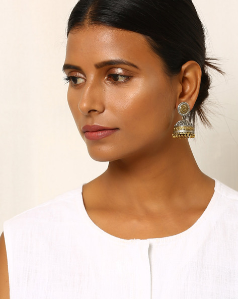 Two-Toned Floral Brass Jhumka By Indie Picks ( Silver ) - 460031729001