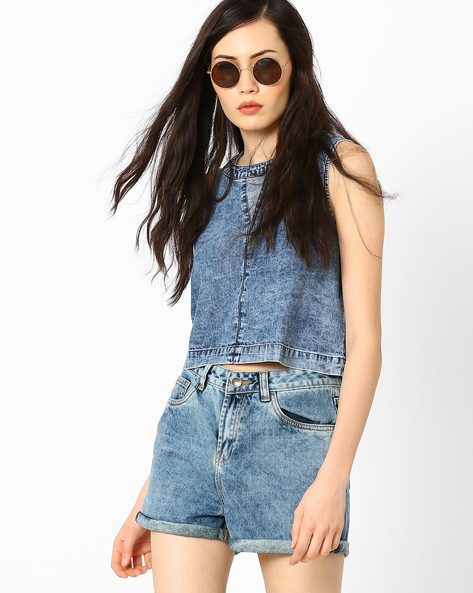 Denim Crop Top By AJIO ( Lightblue )