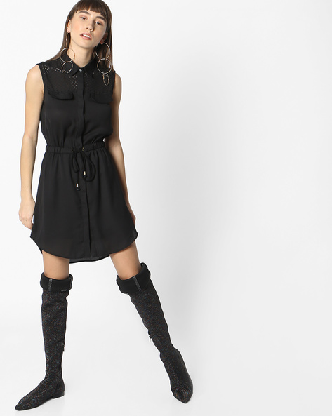 Shirt Dress With Waist Tie-Up By RIO ( Black )