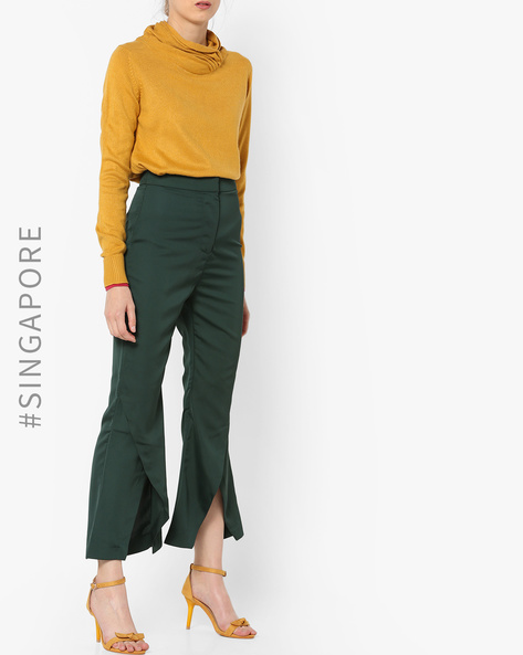High-Rise Trouser With Tulip Hems By MDS ( Green )