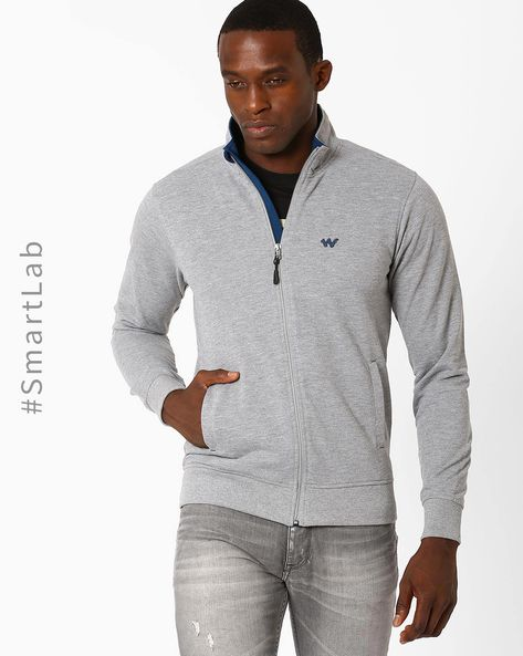 Relaxed Fit Sweatshirt With Front Zipper By Wildcraft ( Lightgrey )