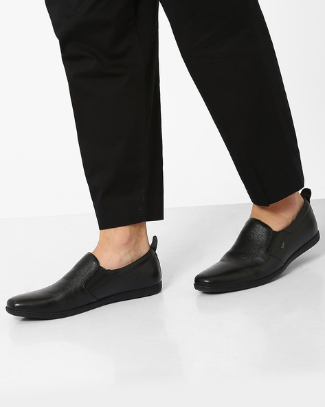 Leather Slip-On Formal Shoes By Lee Cooper ( Black )