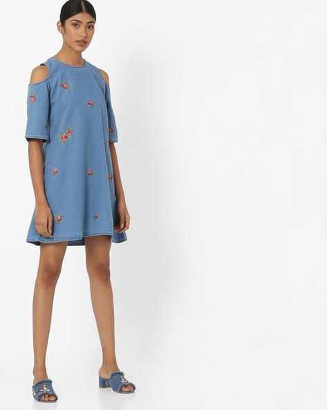 Cold-Shoulder Denim Shift Dress By RIO ( Blue )
