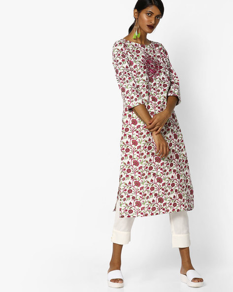 Floral Print Kurta With Embroidery By AJIO ( Multi )