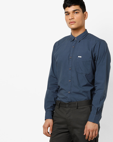 Cotton Shirt With Spread Collar By Pepe Jeans ( Darkblue )