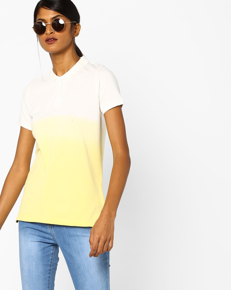 Ombre-Dyed Polo T-shirt By Lee ( Yellow )
